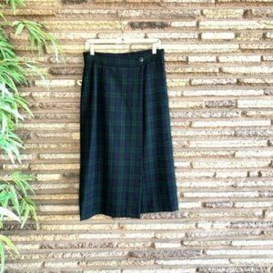 Ann Freedberg Vintage Black Watch Wrap Skirt